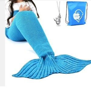 Crochet Mermaid Tail Blanket and Necklace Sz Adult